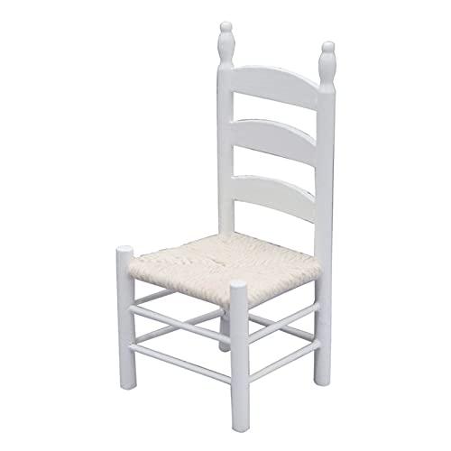 Washranp Miniaturas de casa de muñecas, silla de simulación hecha a mano decoración del hogar estilo europeo escala 1/12 muebles de casa de muñecas silla retro para micro paisaje - blanco