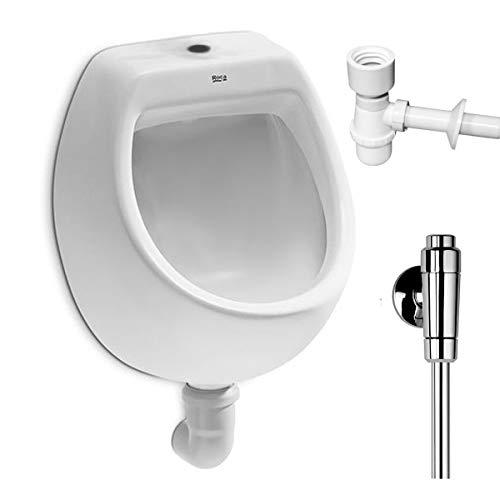 VBChome- Set: Urinal Zulauf Oben Weiß Modern Hochwertig Keramik Pinkelbecken senkrecht Pissoir Mini + Spülventil Urinalspüler Druckspüler ALTERNA IRIS + Siphon Flaschensiphon A50132