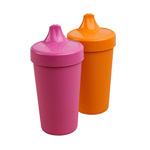 Re-Play 2pk - 10 oz. No Spill Sippy Cups   1 Piece Silicone Easy Clean Valve   BPA Free   Eco Friendly Heavyweight Recycled Milk Jugs are Virtually Indestructible   Bright Pink, Orange