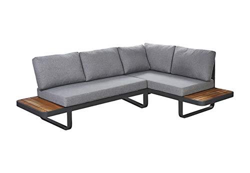 Meubletmoi - Sofá esquinero de jardín de aluminio, cojines blandos de tela gris jaspeado y madera de teca – Estilo Lounge – VAHINE