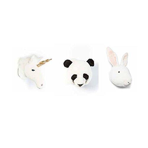 Preciosa caja con 3 trofeos de unicornio, conejo y panda: Animales de peluche hechos a mano para decoración de paredes para habitaciones infantiles.