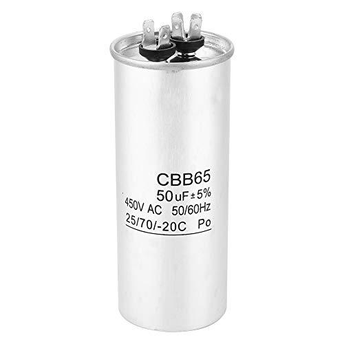 LANTRO JS - Condensador redondo de funcionamiento CBB65 50UF 450V Condensador de arranque de aluminio para condensador de aire acondicionado de bomba de calor o frío recto