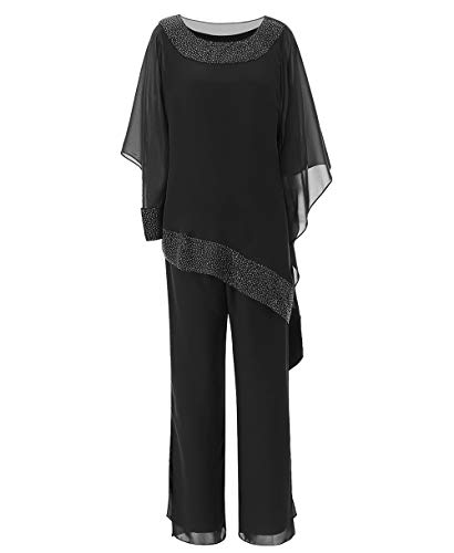 Zeattall Women's 3 Pieces Chiffon Mother of The Bride Dress with Jacket Pant Suits Wedding Guest Dress