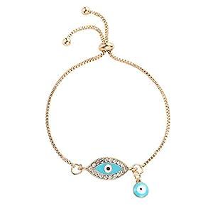 Valcano Türkische Glückliche Blaue Kristall Böse Augen Armbänder Handgefertigte Goldketten Glücklicher Schmuck