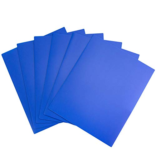 Dunwell Blue Folders with Pockets - (12 Pack), Brightly Colored Poly Blue Plastic Pocket Folders 2 Pocket, Include Removable Labels, Use Bulk Heavy Duty Two Pocket Folders No Prongs for School or Home