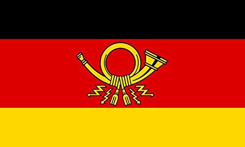 Etaia - Postkartenformat - Aufkleber Post Horn Posthorn auf Deutschlandfahne Sticker für Briefkasten Postkasten
