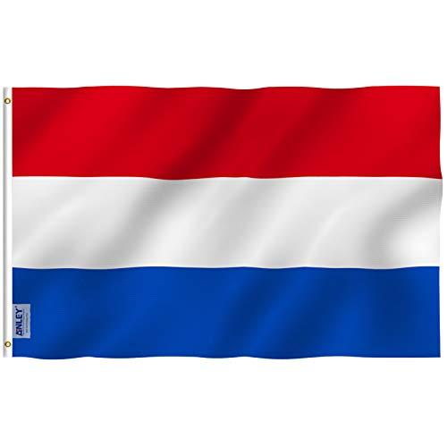 ANLEY Fly Breeze 3x5 Foot (90x150 cm) Nederlandse vlag - levendige kleuren en UV-bestendig - Canvas koptekst en dubbel gestikt - Hollandse nationale vlaggen polyester met messing oogjes 3 X 5 Ft