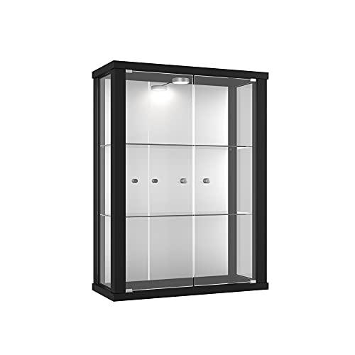 Vitrina Mueble de pared 80x60x25 cm negro con 2 estantes de vidrio, espejo y iluminación LED