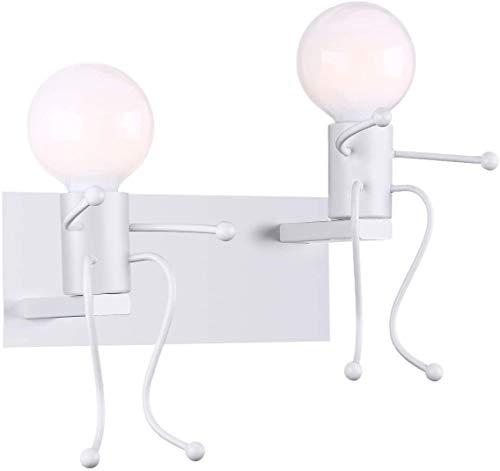 MC Creativo Lampada da Parete Retro Ferro Vintage Applique da Parete Modern Metallo Decor Lampada da Applique Illuminazione per Bar, Camera da Letto, Ristorante, Corridoio E27 (Bianco-2)