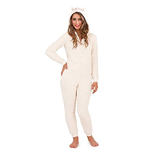Damen-Schlafanzug, Tiermotiv, weiches Fleece, Einteiler Gr. Large 44-46, Kuschelbär, cremefarben