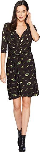 ELLEN TRACY Women's Twisted Front Dress, Rustic BOUQT/Multi, L