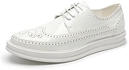 Nicwagrlnsnjx Black Dress Shoes, Oxford Shoes Fashion Men's Leather Dress Shoes Men's Comfortable Office Party Shoes (Color : Ivory, Size : 7.5)