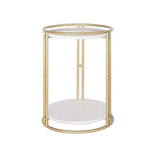 YAQ-Muebles de oficina Flor de soporte multifuncional, doble capa de metal patrón de mármol Mesa lateral Cuarto de Hotel tienda de ropa de baile decorativo Mesa de café Mesas de pedestal