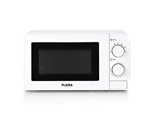 Flama Microondas Blanco 1814FL, 700W, Capacidad de 20L, 6 Programas Automáticos, Función de Descongelación, temporizador de 30 minutos