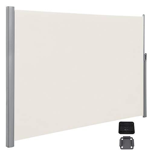 SONGMICS Seitenmarkise, ausziehbar, 2 x 3 m (H x L), mit Bodenmontage, Seitenrollo, für Balkon, Terrasse und Garten, Privatsphäre, Sichtschutz, Sonnenschutz, beige GSA200E