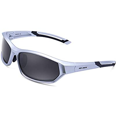 WOOLIKE Sports Sunglasses Polarized Sunglasses for Men Women Tr90 Unbreakable Frame for Cycling Running Hiking Fishing Golf Outdoor Sports RB840 (Silver&Black&Grey Lens)