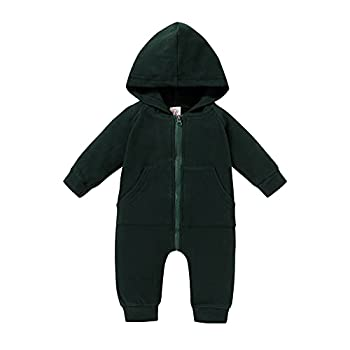 YOUNGER TREE Newborn Infant Baby Boys Girls One-Piece Romper Clothes Zipper Hooded Jumpsuit Fall Winter Warm Clothes Green