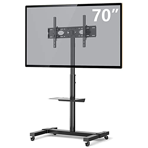 TVON Mobile TV Stand Rolling TV Cart Floor Stand on Lockable Wheels with Tilt Mount and Adjustable Shelf for 32-70 Inch Flat Screen or Curved TVs, Monitors Display Trolley Stand