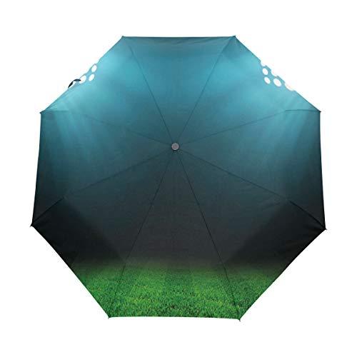SUHETI Regenschirm Taschenschirm,Digitale Nacht im Stadion Print,Auf Zu Automatik,windsicher,stabil