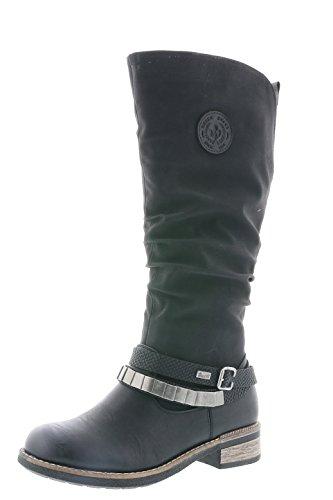 Rieker Damen Klassische Stiefel 94661,Frauen Boots,Langschaftstiefel,Blockabsatz 3.5cm,schwarz/schwarz/schwarz, EU 39