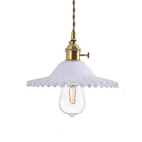 LFsem Semplice lampada a sospensione vintage in ottone con paralume in vetro Lampada a soffitto E27 Loft per camera da letto Ristorante Cafe (Bianco)
