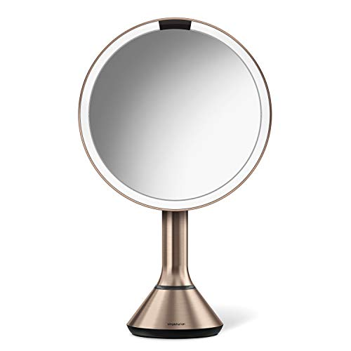 """simplehuman 8"""" Round Sensor Makeup Mirror with Touch-Control Dual Light Settings, 5x Magnification, Rechargeable and Cordless, Rose Gold Stainless Steel"""