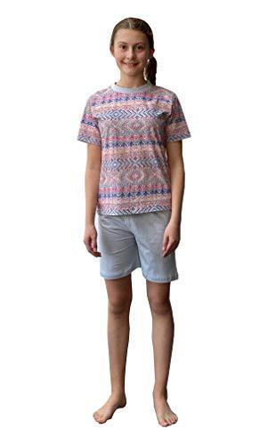 Cooler Mädchen Shorty Pyjama Schlafanzug Kurzarm in tollem Ethno-Look - 63857, Farbe:hellblau, Größe:152