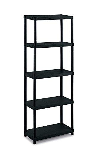 Terry 3060/5, Modulares Regal mit 5 Einlegeböden, geeignet für den Innen-und Außenbereich. Farbe: Schwarz, Material: Kunststoff, Abmessungen: 60x30x174 cm, 60x30x165 cm