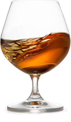 Circleware Chantal Cognac Wine Snifter Whiskey Glasses, Set of 4 All-Purpose Elegant Entertainment Party Beverage Glassware Drinking Cups for, Beer, Liquor and Bar Decor, 22 oz, Brandy