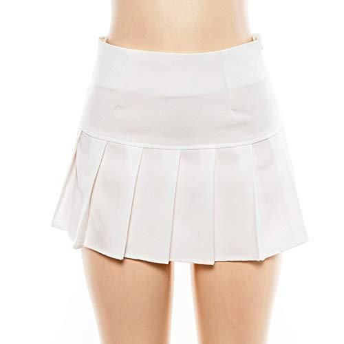minjiSF Minifalda para mujer, moderna, sexy, monocolor, cintura alta, plisada, para fiesta, patinaje, tenis, escuela Blanco S