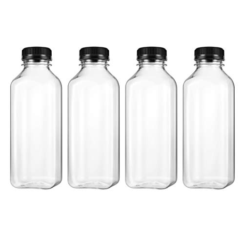 UKCOCO PET plastic empty storage containers, drinking bottles with lid, for juice, with black screw caps, 4 pcs