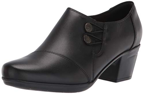Clarks Women's Emslie Warren Slip-on Loafer,Black Leather,6.5 M US