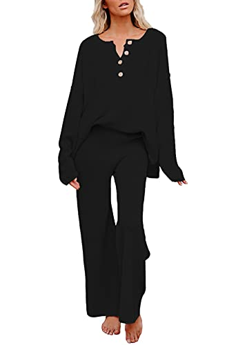 Pink Queen Women's 2 Piece Knit Sweatsuit Oversized Loose Pullover Sweater Top and Wide Leg Pants Outfit Set Black XL