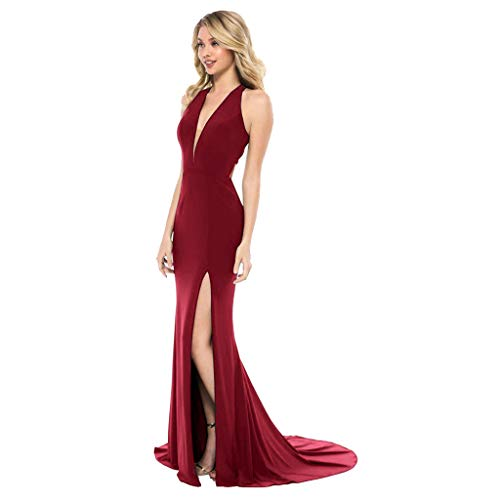 New Hmlai Women Dress Deep V Nevk Sleeveless Dress Slit Up The Side Gown Dress(L,Wine)