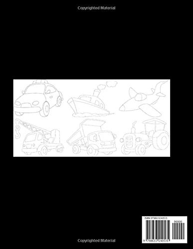 Tracing Images Activity Book: Easy Cool Tracing Pictures with Transportation and Construction Vehicles for Kids - Perfect Trace the Drawing and Color Funny Gift for Boys for Birthday Christmas Easter