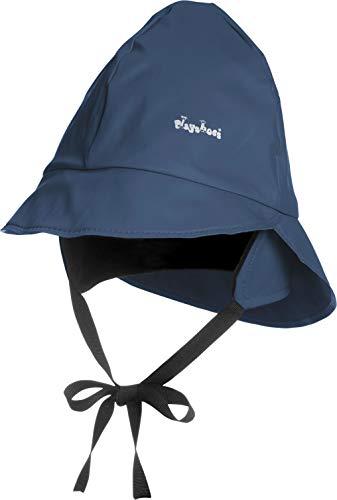 Playshoes Baby Regen-Mütze, wind- und wasserdichte Unisex-Mütze für Jungen und Mädchen mit Fleecefutter, mit Playshoes-Motiv, Blau (11 marine ), 51 cm
