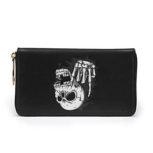 Cartera de cuero con estampado de calavera de roca para mujer, con cremallera, bolsa de embrague, bolsa de viaje, tarjeta de crédito, Black (Negro) - Black-48