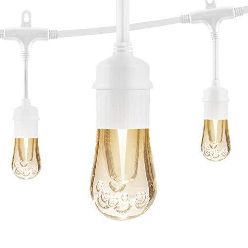 Enbrighten Vintage LED Cafe String Lights, White, 24 Foot Length, 12 Impact Resistant Lifetime Bulbs, Premium, Shatterproof, Weatherproof, Indoor/Outdoor, Commercial Grade, UL Listed, 35646
