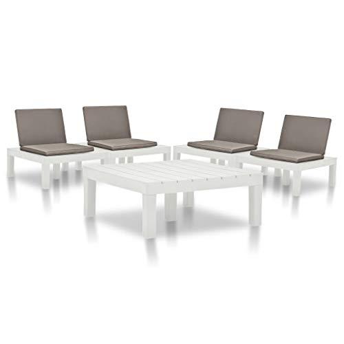vidaXL Juego de Muebles de Jardín 5 Piezas Terraza Patio Conjunto Casa Exterior Comedor Aire Libre Mesa Silla Asientos Plástico Blanco