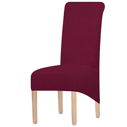 KELUINA XL Fundas para sillas de comedor, juego de 2/4/6 elástico, lavable, tamaño grande, fundas de silla, para comedor, silla, muebles, color rojo vino, grande, 6 unidades)