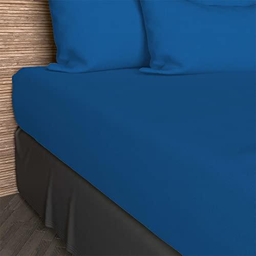 Soleil d'Ocre 610823 So Drap Housse Coton 57 Fils Bleu/Marine 200 x 90 cm