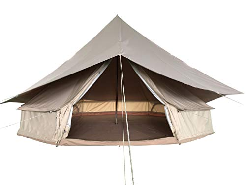 Cotton Canvas Bell Tent with Fly for Family Camping 4 Meters Waterproof Outdoors Large Yurt Bell Tent Glamping