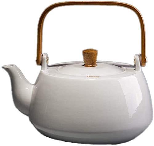 Hoge kwaliteit Keramische Theepot, Keramische losse thee Theepot, Ergonomische Houten Anti-broeien Handle, Geschikt for elektrische keramische kookplaat, Vogels en bloemen (Color : White)