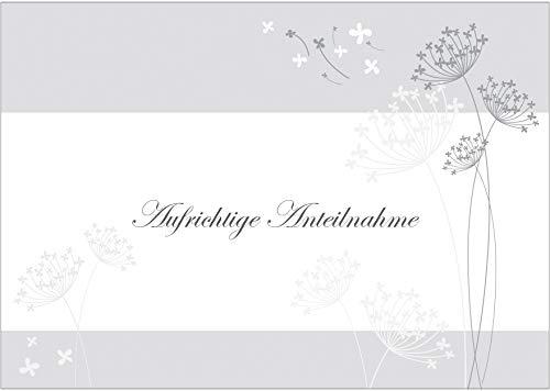 fioniony Trauerkarte Aufrichtige Anteilnahme Beileidskarte/Kondolenzkarte in Grau-Tönen mit Blumen. (Mit Umschlag) (1)