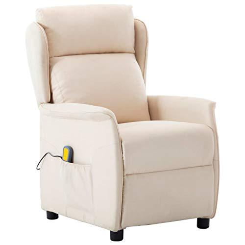 vidaXL Massagesessel mit Heizfunktion TV Sessel Fernsehsessel Relaxsessel Ruhesessel Polstersessel Liegesessel Liegestuhl Creme Stoff