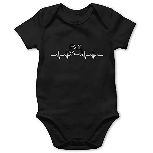 Shirtracer Fahrzeuge Baby - Herzschlag Traktor - 18/24 Monate - Schwarz - Body Herzschlag Traktor - BZ10 - Baby Body Kurzarm für Jungen und Mädchen