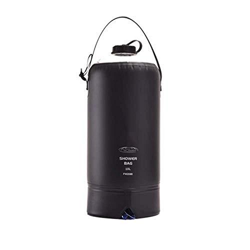 Suministros para Acampar Bolsa de Agua Bolsa de Ducha al Aire Libre Camping Bolsa de Almacenamiento de Agua PVC Bolsa de Ducha Solar portátil 10L-Black