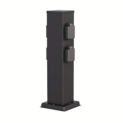 ledscom.de Garden Power Socket Column Polly Black for Outdoor, Fourfold, Stainless Steel, Angular, 38cm BS
