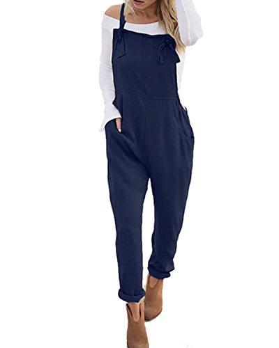 ACHIOOWA Donna Pantaloni Salopette Jeans Largge Tuta Casual da Taschino con Tracolla Elegante Pantaloni Gamba Moda Tasche Sciolto Solido Colore Ufficio Taglie Forti 897663-Marina Militare XL