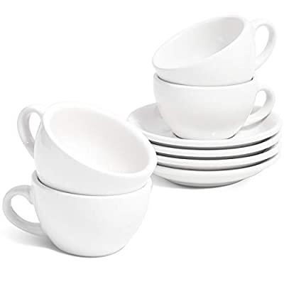 LE TAUCI 6 oz Cappuccino Cups with Saucers?Ceramic Coffee Cup for Au Lait, Double shot, Latte, Cafe Mocha, Tea - Set of 4, White